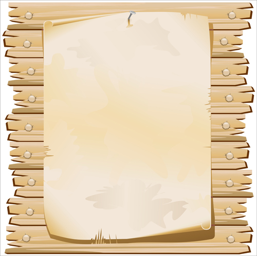 Set of wooden background with frames vector 02