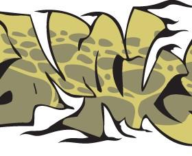 Funny graffiti alphabet design vector 10