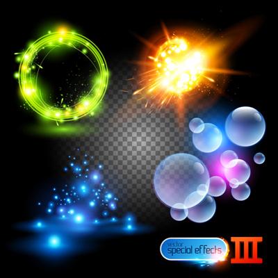 Rainbow Light effects design vector material 04
