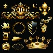 Link toLuxurious golden heraldic with ornaments vector 02