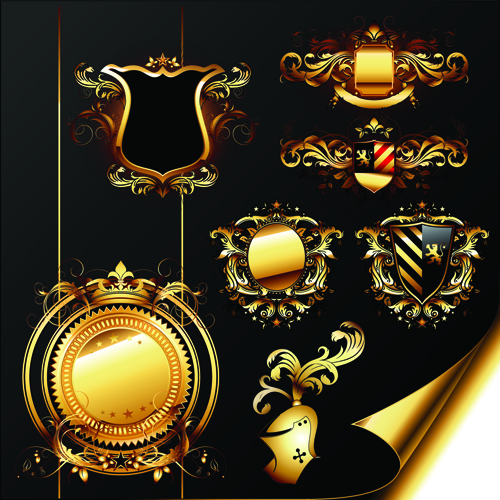 luxurious Golden Heraldic with ornaments Vector 04