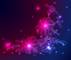 Set of Neon with flowers vector graphic 01