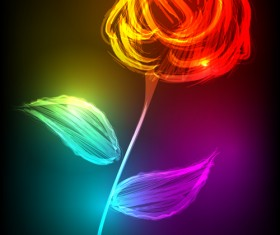 Set of Neon with flowers vector graphic 03