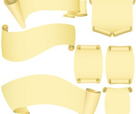 Set of ribbons and scrolls design elements vector 01