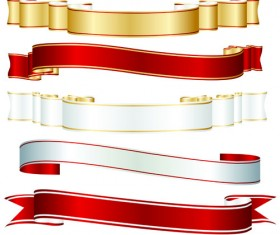 Set of ribbons and scrolls design elements vector 03