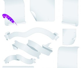 Set of ribbons and scrolls design elements vector 04