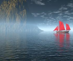 Charming Sea landscape design vector 01