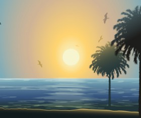 Charming Sea landscape design vector 02