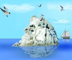 Charming Sea landscape design vector 03