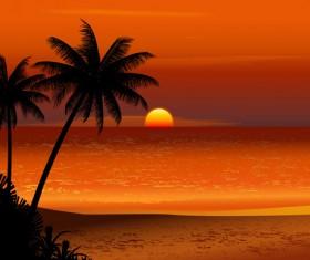 Charming Sea landscape design vector 05