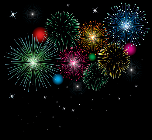 Set of holiday Fireworks design vector material 11