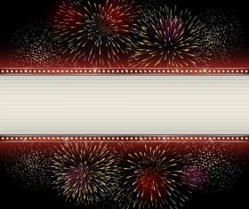 Set of holiday Fireworks design vector material 31