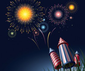 Set of holiday Fireworks design vector material 13