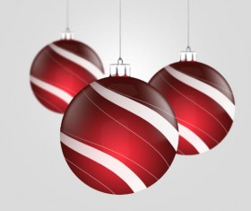 Red Christmas balls psd material