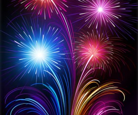 Set of holiday Fireworks design vector material 16