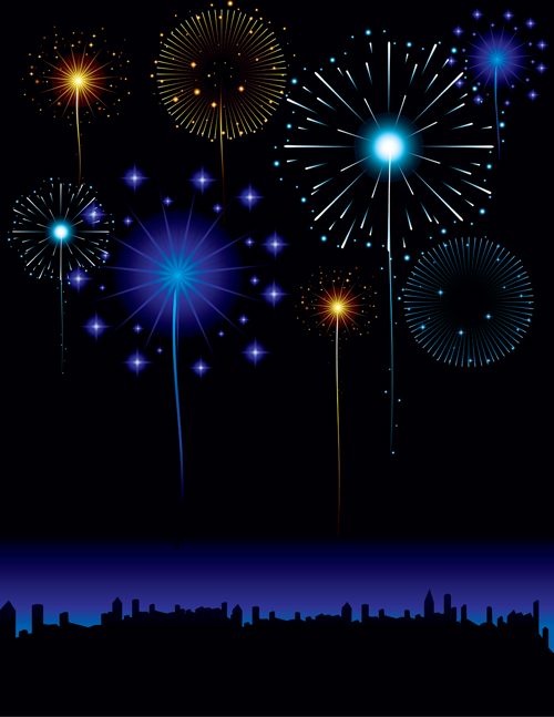 Set of holiday Fireworks design vector material 19