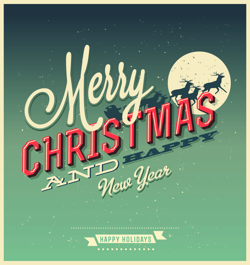 Set of Retro Christmas and new year Backgrounds vector 02 - Vector ...