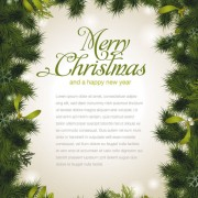 Link toSet of christmas pine needles backgrounds vector material 01