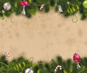 Set of Christmas Pine needles backgrounds vector material 04