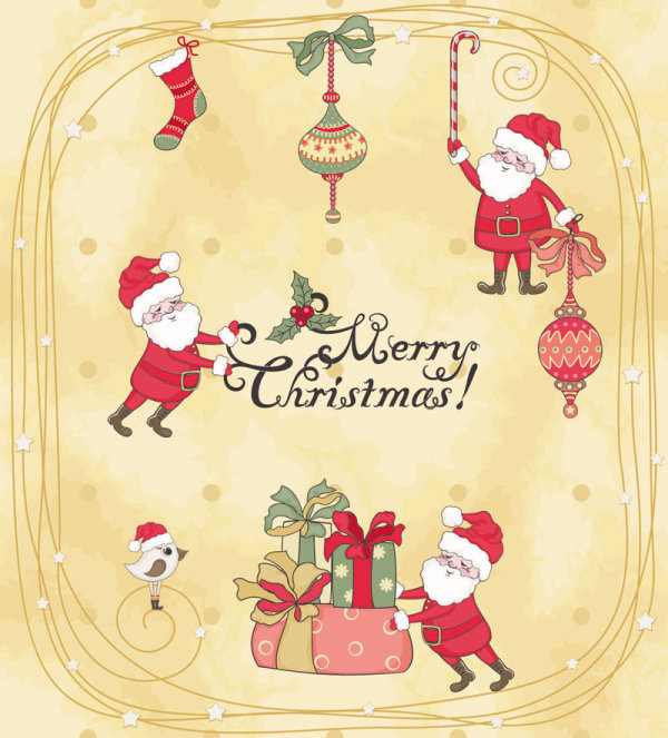 Cute Cartoon Christmas Ornaments Vector Graphics 02 Free Download