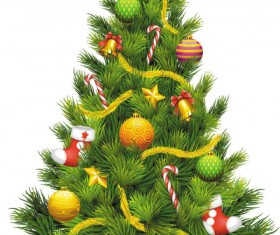 Elements of Vivid Christmas tree with ornaments 01