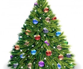 Elements of Vivid Christmas tree with ornaments 02