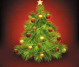 Elements of Vivid Christmas tree with ornaments 03