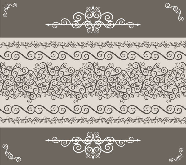 Vintage floral frame vector backgrounds set 04