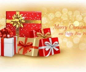 Bright Christmas gift cards art vector