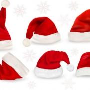 Link toRed christmas cap vector set
