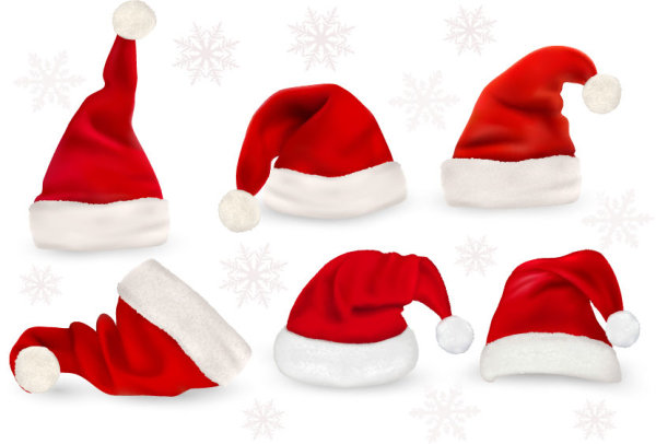 Red Christmas cap vector set