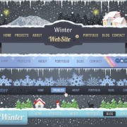 Link toWinter christmas style site navigation design vector 02
