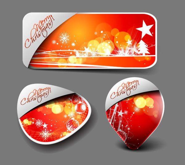 3 kind Cute Christmas labels vector