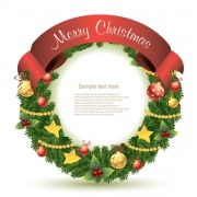 Link toChristmas decoration circle with ribbons background vector