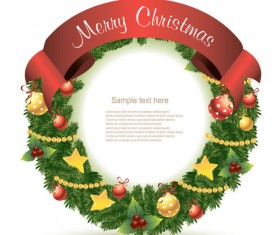 Christmas Decoration Circle with ribbons background vector