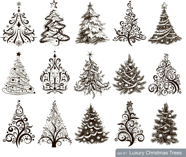Hand Drawn Christmas Tree Mix Design Vector Free