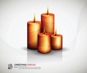 Set of Christmas candles design elements vector 01