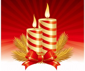 Set of Christmas candles design elements vector 02