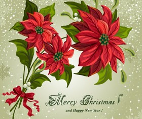 Set of Red flower with Christmas vector 01