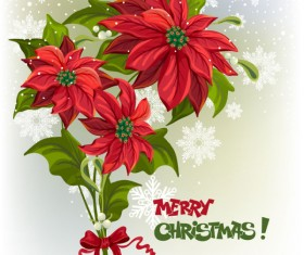Set of Red flower with Christmas vector 02