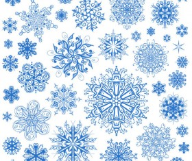 Different Snowflake patterns design elements vector 02