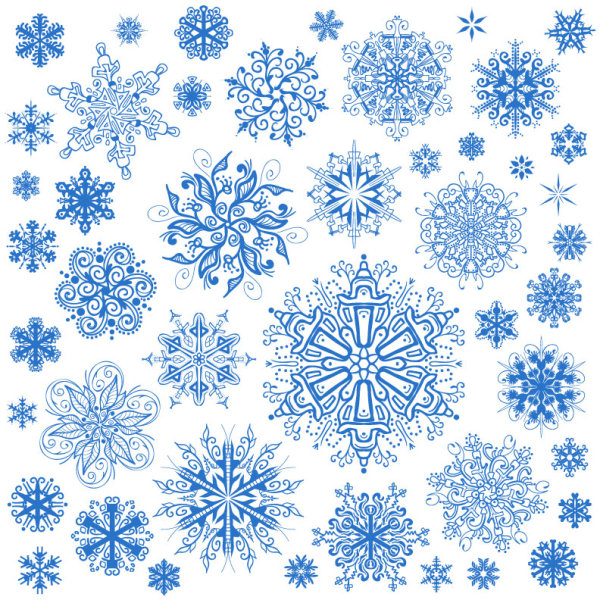 Different Snowflake Patterns Design Elements Vector 40 Free Download Cool Snowflake Patterns