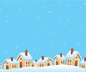 Cartoon house and snow design vector set 01