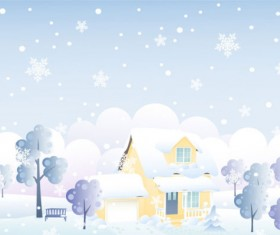 Cartoon house and snow design vector set 02