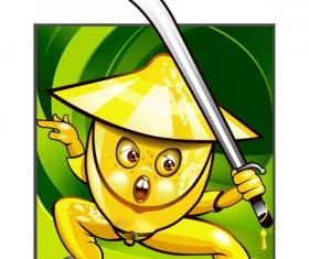 Set of Funny cartoon Fruit design vector material 02