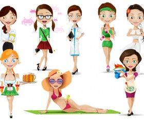 Different girl elements psd material