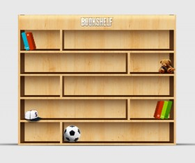 Set of bookshelf elements psd material