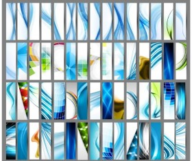 Blue Abstract cards art vector graphic 01