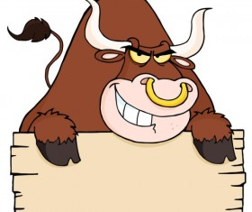 Set of angry bulls design vector 02