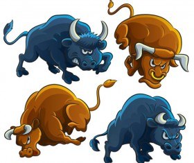 Set of angry bulls design vector 03
